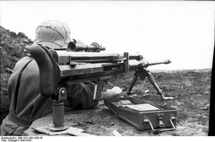 German soldier with Solothurn S-18/1000 anti-tank rifle, southern Soviet Union, 1941-1942, photo 1 of 2