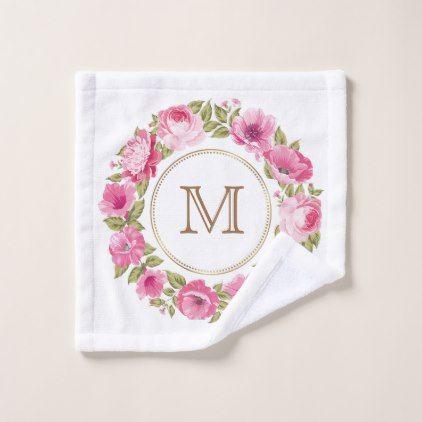 Your Monogram in Flower Frame wash cloth - flowers floral flower design unique style