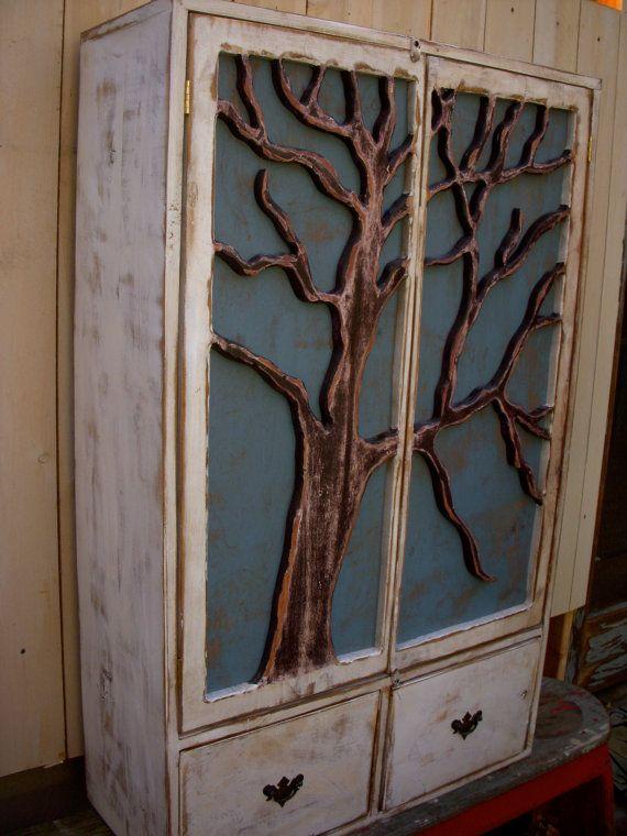 Rustic Furniture Shelf  Oak Tree Cabinet  by honeystreasures, $800.00