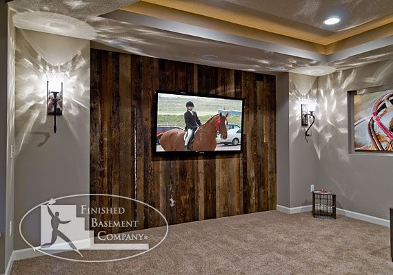Basement tv wall this western basement living room is for Western basement ideas