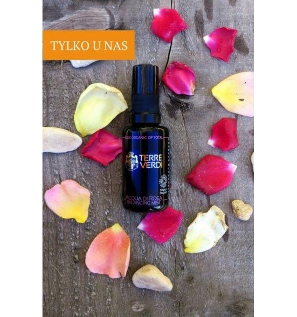 Organiczna woda różana z róży damasceńskiej w formie mgiełki - Terre Verdi, 30 ml  Organiczna woda różana z róży damasceńskiej w formie mgiełki.  Woda różna z róży damasceńskiej usuwa ze skóry pozostałości makijażu i zanieczyszczeń, przywraca naturalną równowagę i właściwe PH skóry.  Doskonale regeneruje i nawilża.