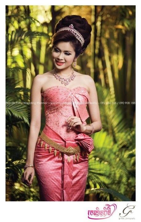 Wedding dress w really big hair wow cambodian wedding for Khmer dress for wedding party