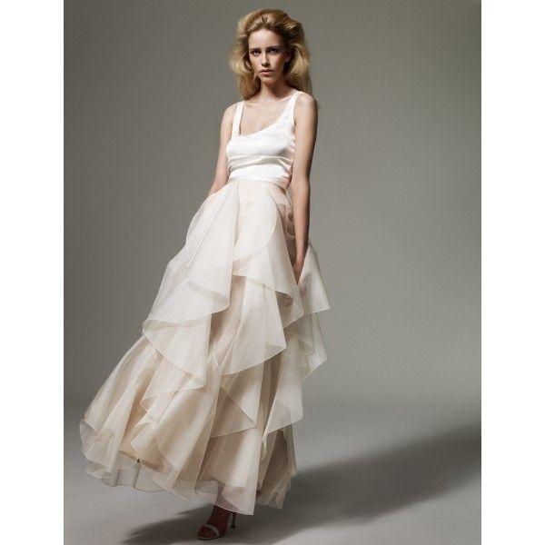 A Line Knee Length Organza Ivory Wedding Dress Straps Empire
