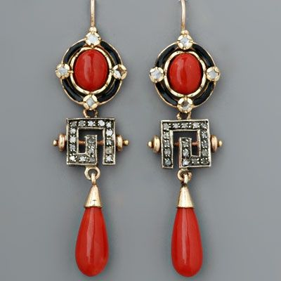 Art Deco Rose-cut Diamond, Coral & Black Enamel Earrings #artdeco #jewelry