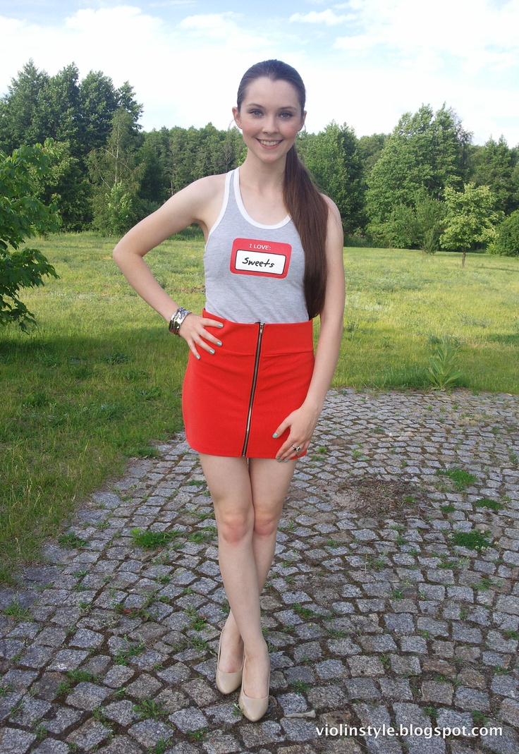 Euro 2012 outfit, white and red, high waist banded skirt, nude pumps