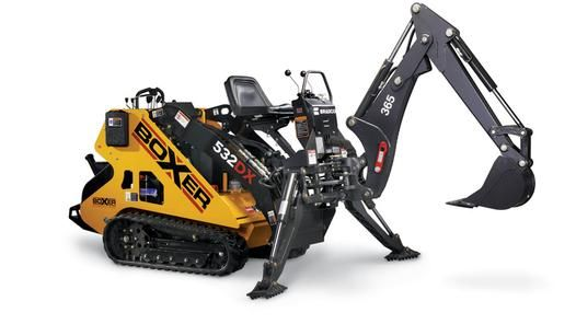 BOXER 532DX Mini-Skid Key Features 32 HP Kubota Diesel 2,100 lbs. tip capacity 1,050 lbs.operation capacity (50% tip load) 735 lbs.operation capacity (35% tip load) Variable flow hydraulics Variable track widening system Dedicated oil cooler to better manage hydraulic heat generation Stand-On Platform for operator safety and comfort Well balanced and stable Excellent ground speed Skid steer style controls