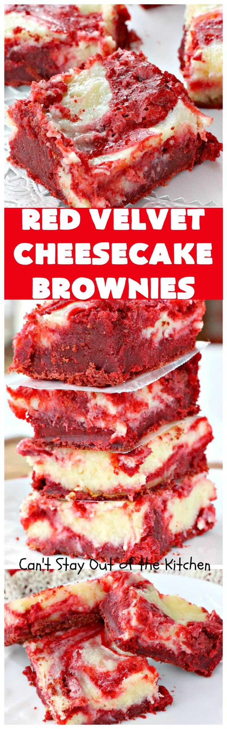 Red Velvet Cheesecake Brownies | These are the most awesome red velvet brownies ever! They have a luscious cheesecake layer swirled into the batter. Perfect dessert for holidays like Christmas or Valentine's Day.