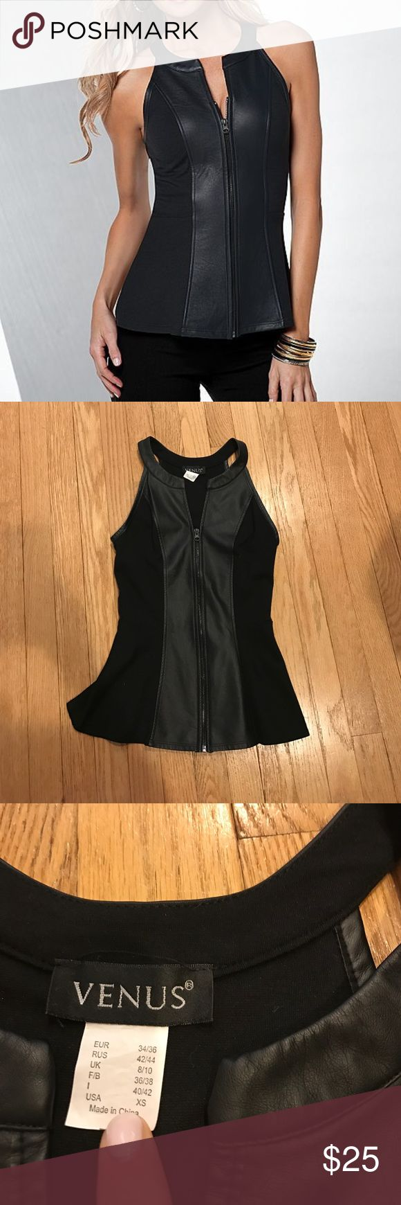 Faux Leather Peplum top Worn maybe once and in excellent condition! VENUS faux leather peplum top . Pretty with a peplum hem and daring in faux leather! Size XS   Rayon/nylon/spandex; trim: polyurethane. Imported venus Tops Tank Tops