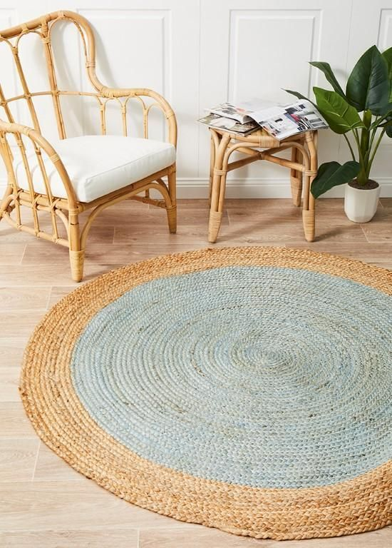 Alison Round Polo Blue Jute Organic Rug Tapis Rond Decoration