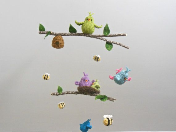 Bird and Bee Garden Baby Mobile Bird Hanging by SweetBauerKnits