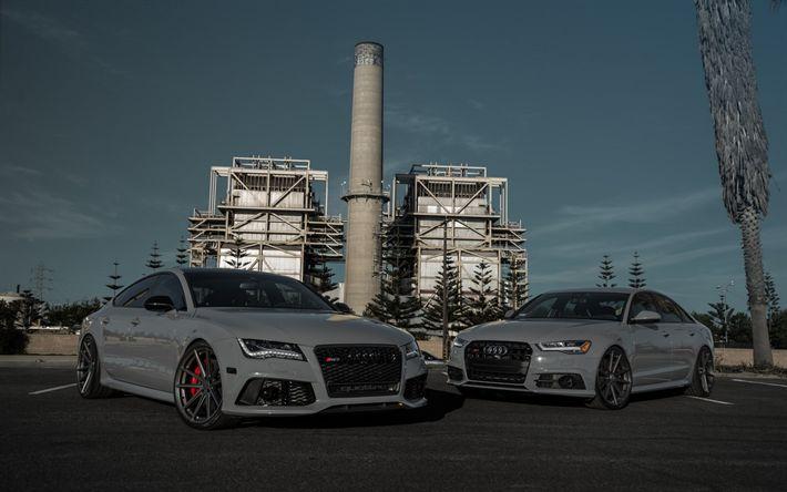 Scarica sfondi Audi RS7, Nardo Grigio, 2017, berlina sportiva, tuning RS7, auto tedesche, Audi