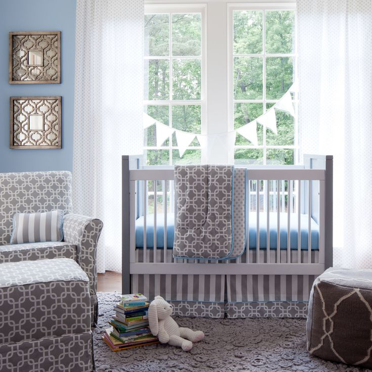 Gray Geometric Three Piece Crib Bedding Set By Carousel Designs
