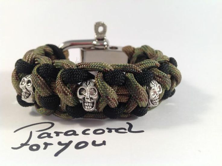 Herren Paracord Armband mit Schäckel - Skull von Paracordforyou auf DaWanda.com