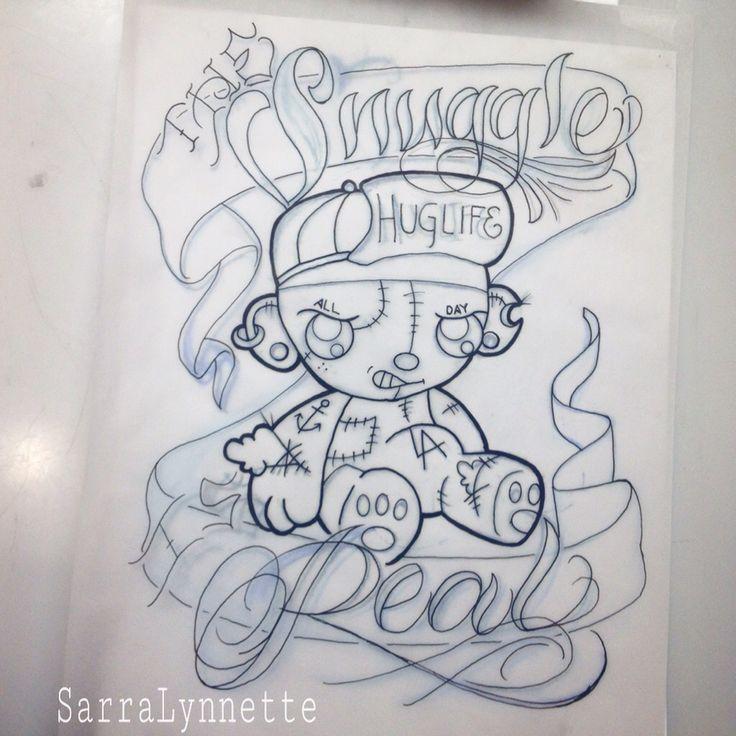 Gangster teddy bear drawing by
