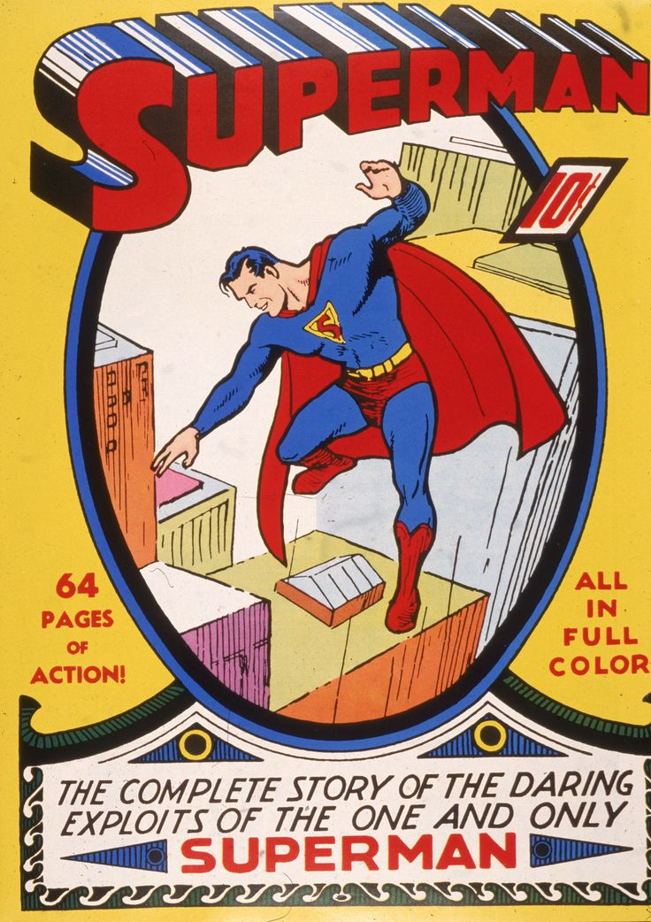 Top 100 Comic Book Covers | Cover art for the 'Superman' comic book, 1930s. (Photo by Hulton ...