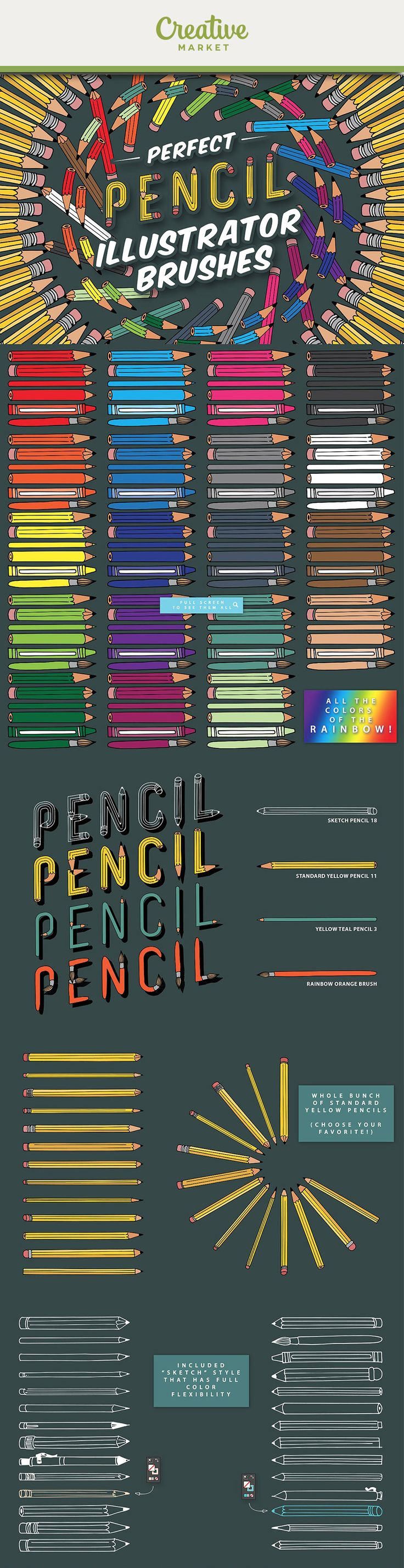 Ad: You've got a collection of colors, shapes, and types.Plenty of color, stars, and dancing pieces of paper. 150+ different brushes for Adobe Illustrator. Rainbow collection of pencils, crayons, and paintbrushes. Reactive stroke color versions (choose the right color for your design). Extras! hand drawn arrows and lines. Get it now on Creative Market