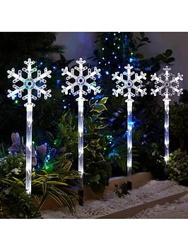 Snowflake Pathfinder Outdoor Christmas Lights (4 Pack) | Merry ...