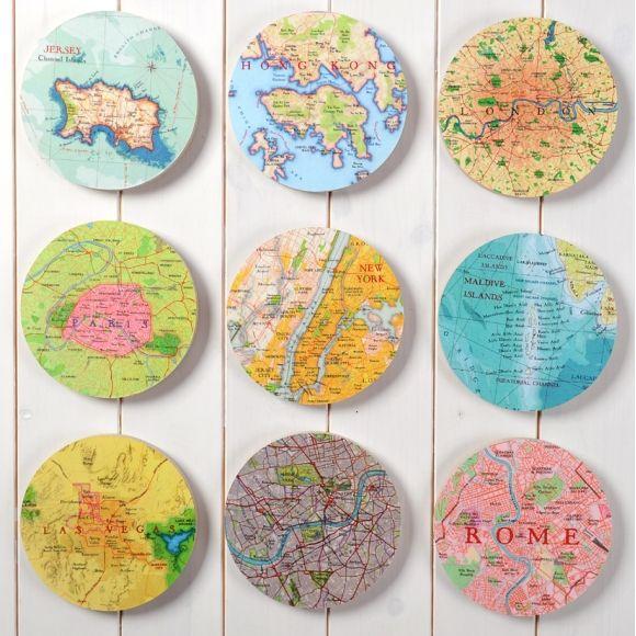 Nine bespoke map circle wall art