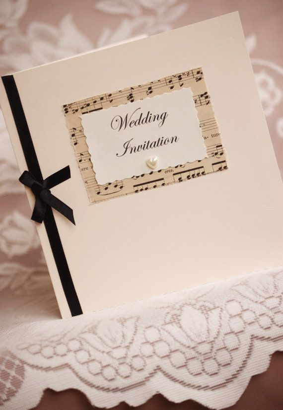 Vintage Music Wedding Invitation with envelope  by vintagetwee, $7.75