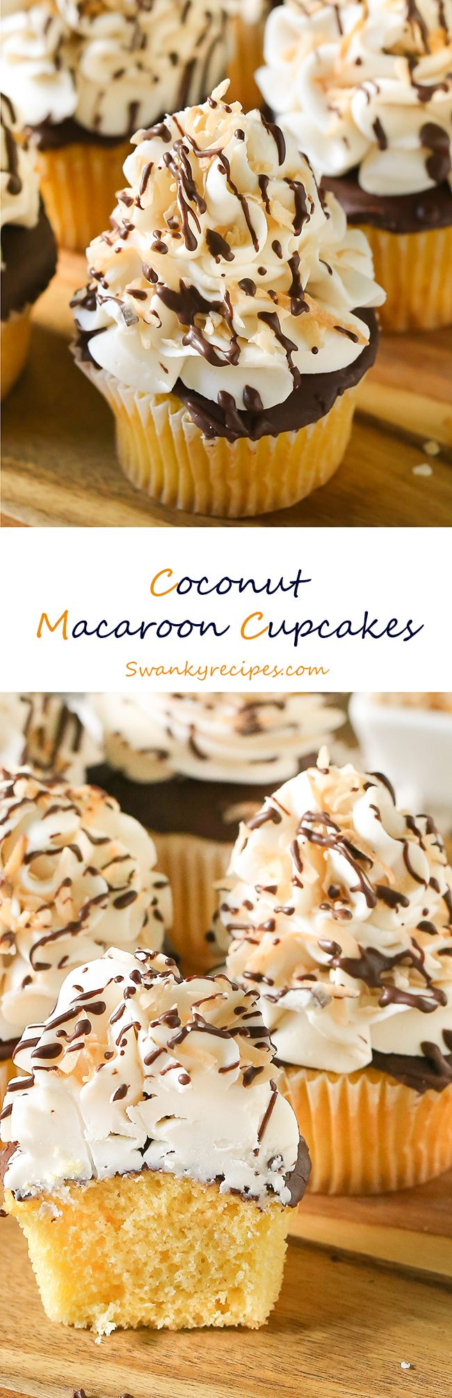 Coconut Macaroon cupcakes - Celebrate the arrival of spring holidays with moist and flavorful cupcakes made with @SPLENDA Naturals Stevia Sweetener, dark chocolate, toasted coconut flakes and whipped (Baking Desserts Spring)