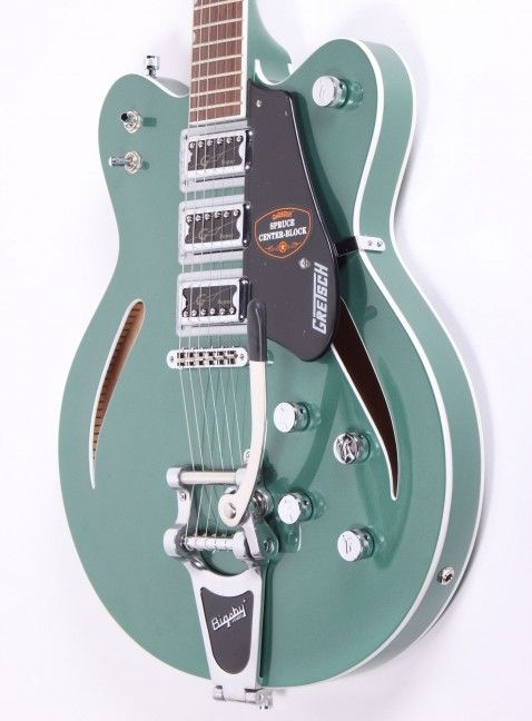 Grestch G5622T Electromatic Centre Block in amazing Aspen Green! Available in store now £790 #gretsch #gretschguitars #guitar #bigsby #semihollow