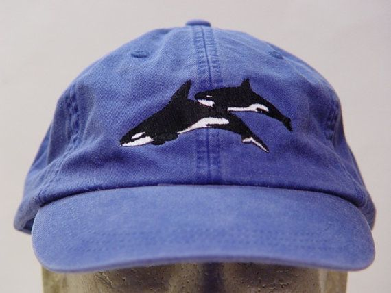 KILLER WHALES HAT - One Embroidered Orca Wildlife Cap - Price Embroidery Apparel - 24 Color Caps Available