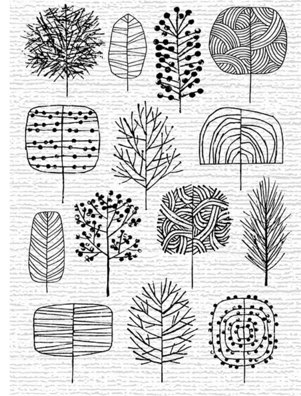 How to draw trees different ways. Possible embroidery patterns