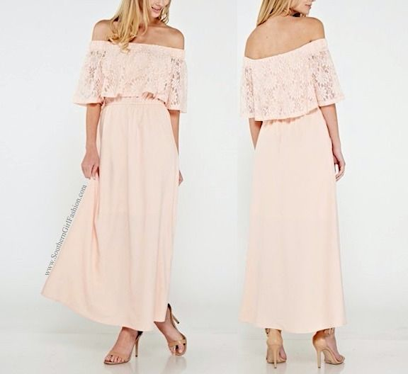 SOUTHERN GIRL FASHION  Lace Maxi Dress Pink Off Shoulder Long Draped Gown  S M L #Boutique #LongDress