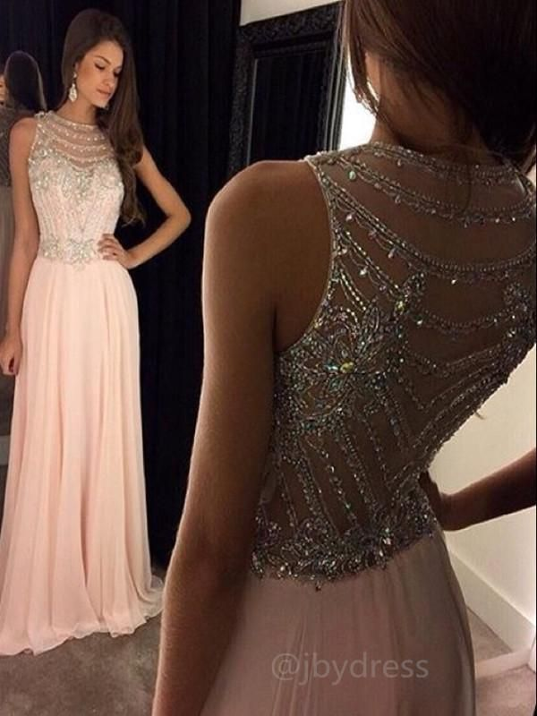 Custom Made A Line Round Neck Sleeveless Long Pink Prom Dresses, Pink Formal Dresses 2