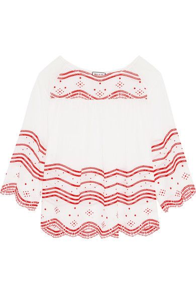 PAUL & JOE Broderie Anglaise Cotton-Voile Blouse. #pauljoe #cloth #tops