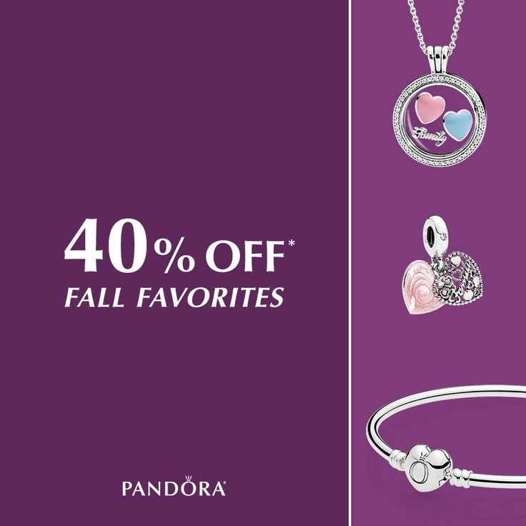 Receive 40% off some of our favorite fall styles from PANDORA Jewelry! Earrings, rings, charms bracelets and more – what are you waiting for? *See store for details.
