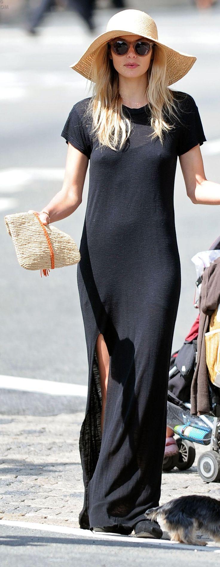 Black Thigh Split Maxi Length Tee Dress
