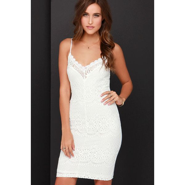 Thrills of Seville Ivory Lace Bodycon Midi Dress ($46) ❤ liked on Polyvore featuring dresses, white, bodycon dress, ivory lace dress, white midi dress, lace overlay dress and white lace cocktail dress