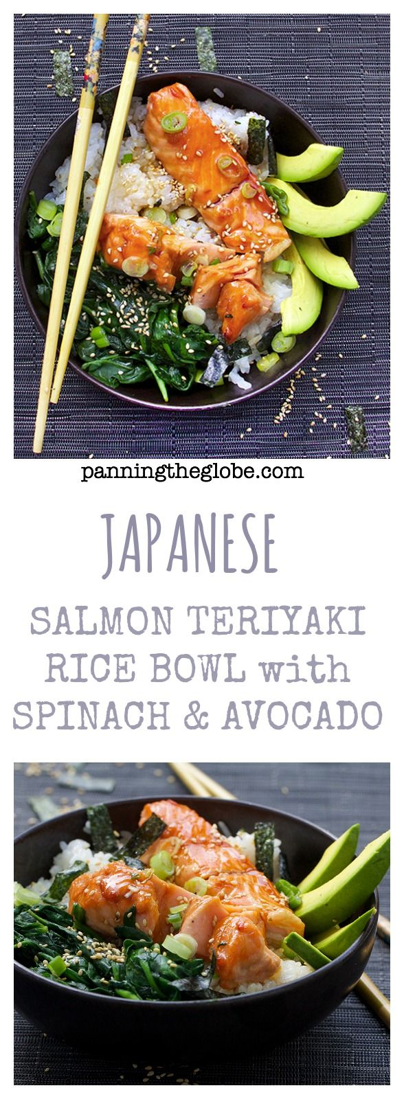 Teriyaki Salmon Rice Bowl recipe: A whole healthy delicious meal in a bowl - Salmon, spinach, sushi rice and teriyaki sauce - garnished with avocado and sesame-nori confetti. Gets rave reviews!