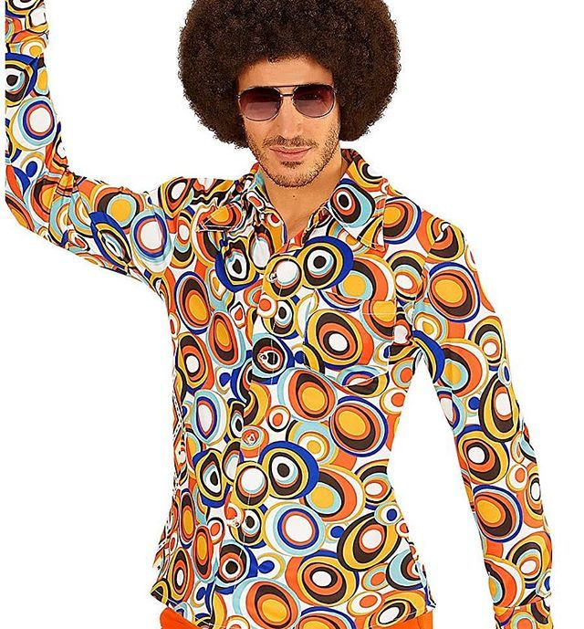 70er Jahre Hemd Bubbles 70er Jahre Outfit Hippie Kostum Herren