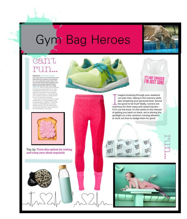 """Gym Bag Heroes"" by hellamela ❤ liked on Polyvore featuring adidas, Soma, fitness, sporty, workout and BEASTMODE"