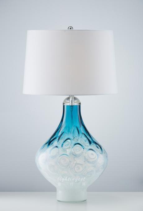Jane European Mediterranean desk lamp【最灯饰】3月新品简欧地中海蓝色设计师样板房酒店会所玻璃台灯