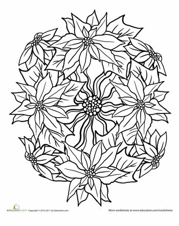 poinsettia coloring pages for adults - photo#14