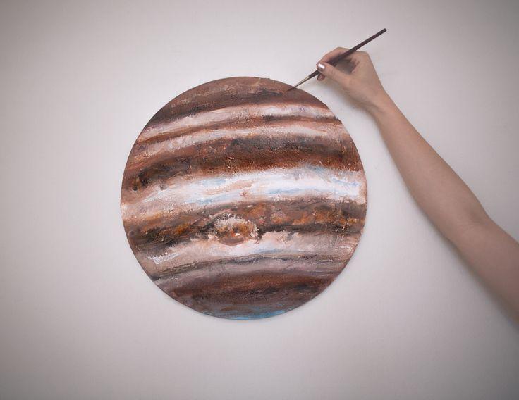 """Indigo Jupiter 2016 20"""" diameter round Watercolor on canvas"""