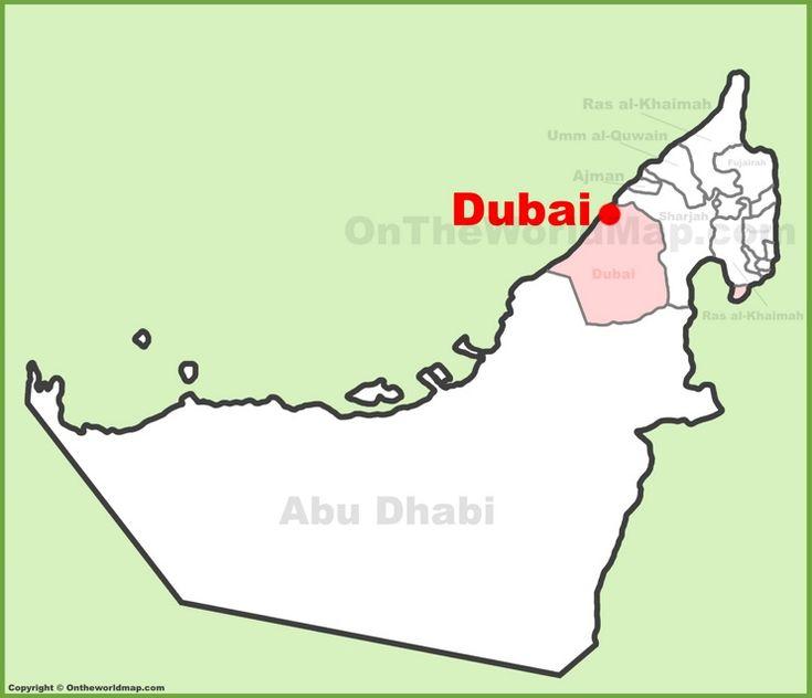 Dubai location on the UAE Map