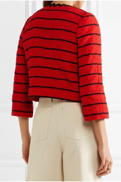Sonia Rykiel - Striped Cotton-blend Bouclé-tweed Jacket - Red - FR38