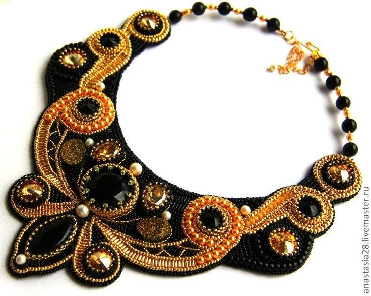 """Колье """" В стиле """" барокко """" - чёрный,колье,украшения ручной работы,подарок"""