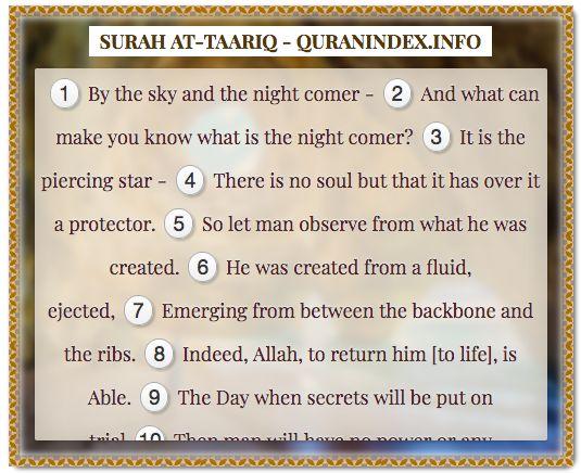 Browse, Read, Listen, Download and Share #Surah At-Taariq [86] @ https://quranindex.info/surah/at-taariq #Quran #Islam