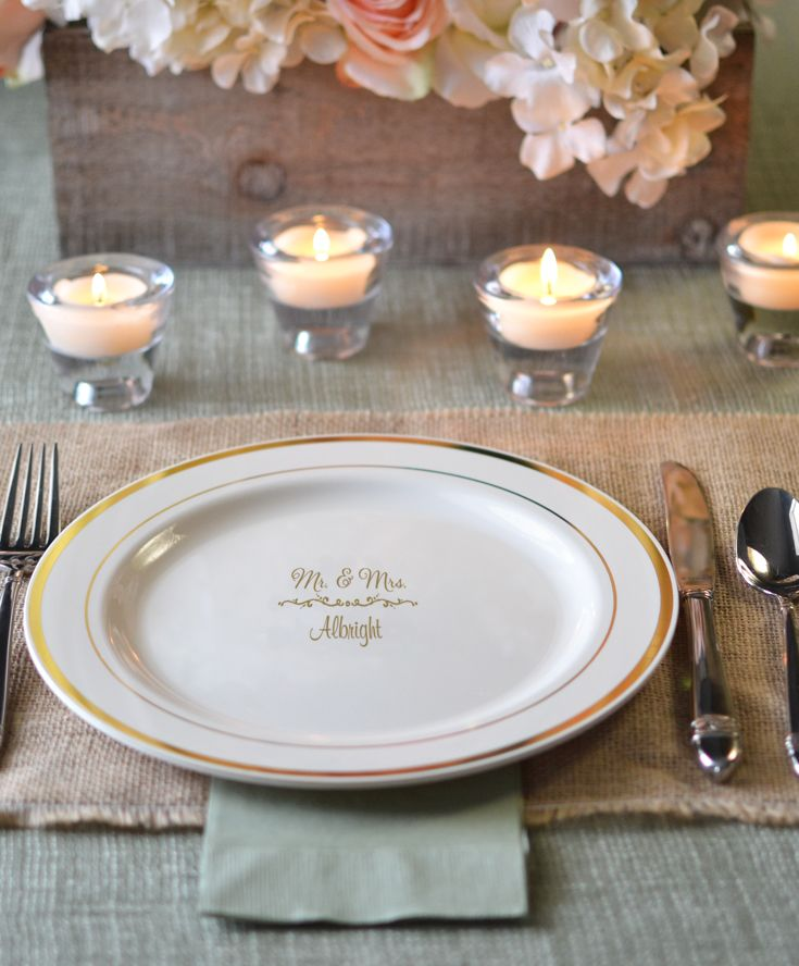 Personalized Plastic Wedding Plates Add A Special Touch To Reception Tables Have Your Wedding Dinner Plates My Wedding Reception Ideas Wedding Reception Food