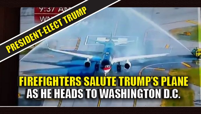 As Donald Trump's plane took off from New York, en route to Washington D.C., earlier this morning, firefighters saluted Trump with a WATER SALUTE. This is our PRESIDENT, everyone! How exciting! Watch the video: President-Elect Trump Saluted by Firefighters as He Leaves New York for Meeting with President Obama pic.twitter.com/RyZp1745Wi — President Trump (@ThePatriot143) November 10, 2016 Amy Moreno is a Published Author , Pug Lover & Game of Thrones Nerd. You can follow her on Twitter...