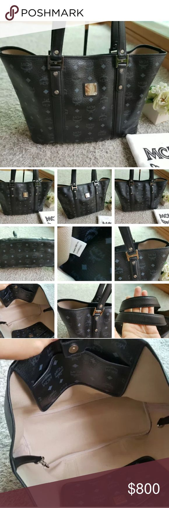% Authentic MCM VISETOS Black Tote NOT FOR SALE OR TRADE. Waiting for this beautiful bag to arrive. I'm looking for a matching wallet at reasonable price. Tag me if you have or have seen one please. Thanks. MCM Bags Totes