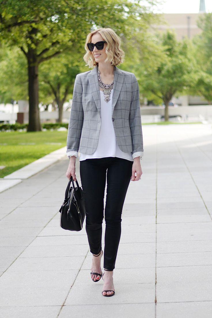 how to style a blazer, grey windowpane blazer, white camisole, black coated skinny jeans, silver bib necklace, black heeled sandals