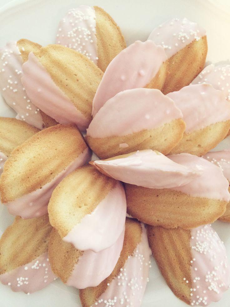 Pretty Pink Madeleine Cookies