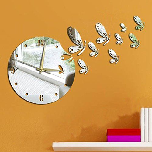 Dupin LLC (TM)Silver Flying Butterflies Round Wall Mirror Clock Modern  Design Removable DIY Acrylic Mirror Wall Decal Wall Sticker Home Decoration