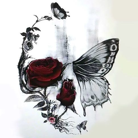 This Skull Butterfly and Rose tattoo is a strong symbol that has a powerful message of rebirth and our strong connection to the nature. The red color of the roses give this tattoo a very exotic appearance.
